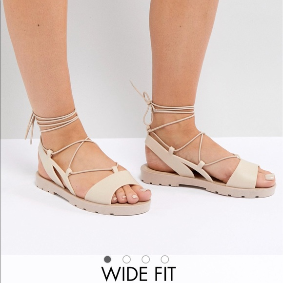 6aca28a3330 Nude JELLY Lace-up Peep Toe sandals (WIDE FIT)